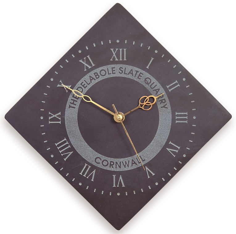 Diamond Shaped Roman Numeral Clock With Logo Homeware