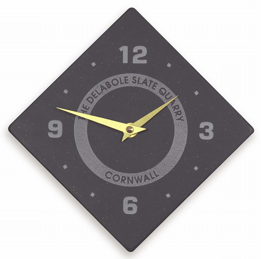 Diamond Shaped Quarter Numbered Clock With Logo Homeware