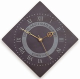 Diamond Shaped Roman Numeral Clock With Logo